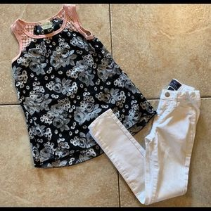 Girls Gap Outfit Top Jeans 7-8
